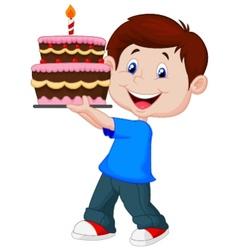 Boy cartoon with birthday cake vector