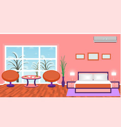 bright bedroom interior with modern furniture and vector image