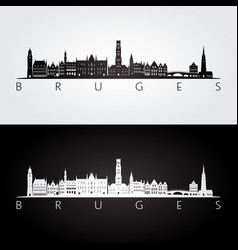 bruges skyline and landmarks silhouette vector image