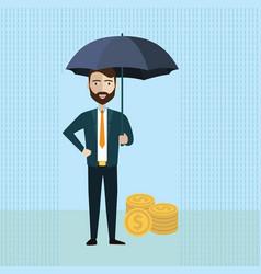 Businessman holding umbrella to protect money vector
