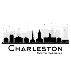 Charleston south carolina city skyline black and vector