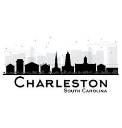 Charleston south carolina city skyline black vector