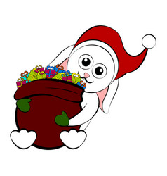 christmas rabbit holding a present bag vector image