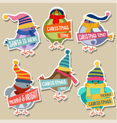 christmas stickers collection with birds vector image