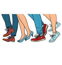 close-up legs people walking vector image