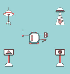 Collection of icons and space saucers and aliens vector