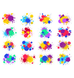 color paint splashes abstract bright ink blots vector image