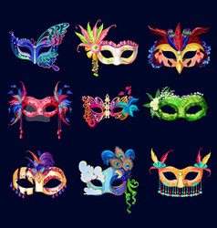 colorful ornate carnival masks set vector image