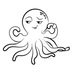 Coloring cute octopus octopus athlete vector