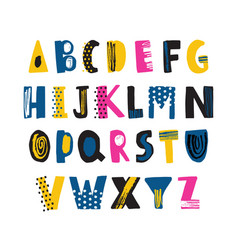 cute childish latin font or funky english alphabet vector image