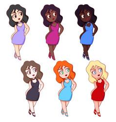 Cute multinational chubplus size plump girls vector