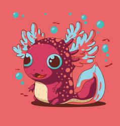 Cute small cheerful axolot vector