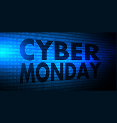 cyber monday banner with binary code design vector image