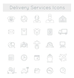 Delivery and logistics services flat line web vector image
