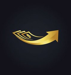 Dollar investment arrow business gold logo vector