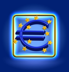 Euro currency sign neon icon vector