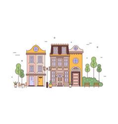 exterior view elegant residential buildings of vector image
