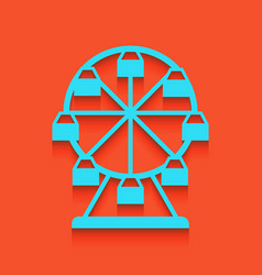 Ferris wheel sign whitish icon on brick vector