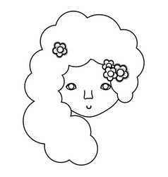 figure woman face with flower in the hair icon vector image