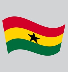 flag of ghana waving on gray background vector image