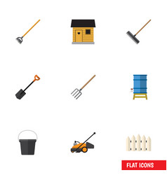 Flat icon farm set of tool spade lawn mower and vector