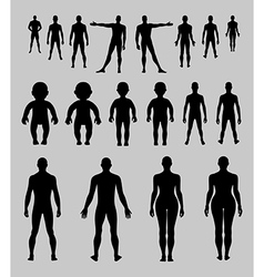 Full length front back human silhouette set vector