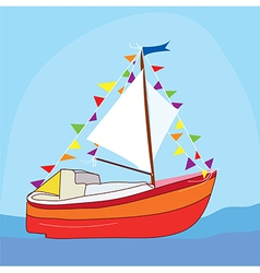 Funny yacht at the sea vector image