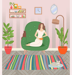 girl in armchair living room cosy interior vector image