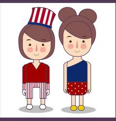 girls wearing celebration usa america patriotism vector image