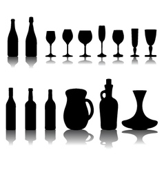 glasses and bottles 2 vector image