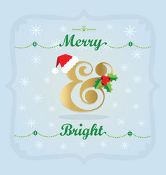 Golden and colorful christmas holiday merry and vector