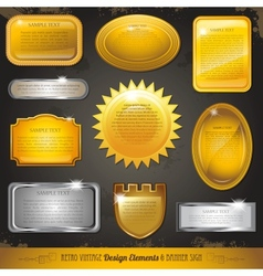 Golden luxury labels and banners collection set vector image