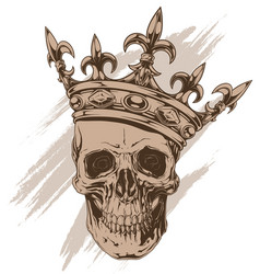 graphic brown human skull with royal king crown vector image