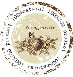 Grunge rubber stamp with pomegranate shape vector