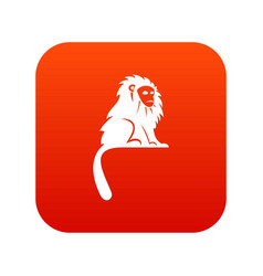 Hairy monkey icon digital red vector