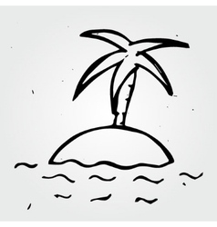 Hand drawn desert island palm tree and sea vector