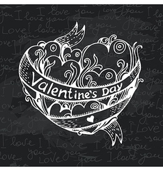 Hand drawn heart chalkboard design vector
