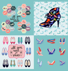 hand drawn set fashion background and icons vector image