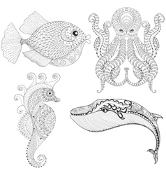 Hand drawn zentangle artistic Octopus Sea Horse vector