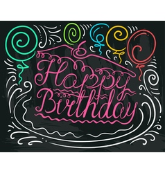 Happy Birthday lettering in piece of cake vector image