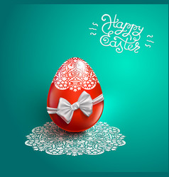 Happy easter card with lace bow egg vector