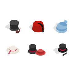 hat icon set isometric style vector image
