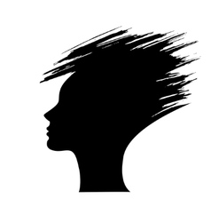 head of the woman silhouette of the hair style vector image