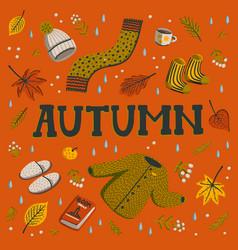 hello autumn collection fall season elements vector image