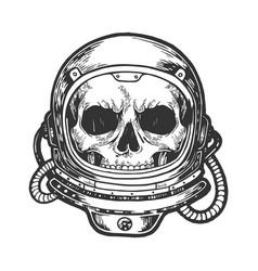 Human skull in astronaut helmet sketch engraving vector