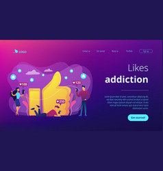 Likes addiction concept landing page vector