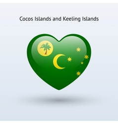 Love Cocos and Keeling Islands symbol Heart flag vector image vector image