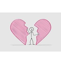 Man and broken heart vector
