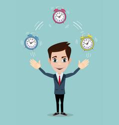 Man juggling with alarm clocks symbolizing time vector