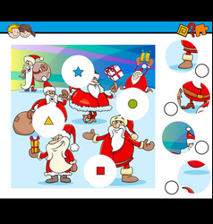 Match pieces puzzle game with santa characters vector